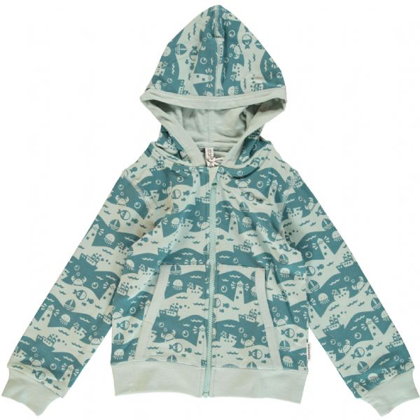 Maxomorra Hooded Cardigan Ocean Landscape
